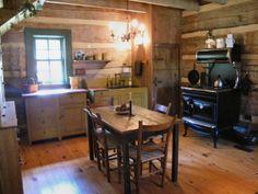 A restored antique log cabin - making the cabin homey Log Cabin Living, Log Cabin Kits, Log Cabin Homes, Log Cabins, Mountain Cabins, Cabin Ideas, Log Home Kitchens, Rustic Cabin Decor, Rustic Cabins
