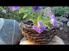Кашпо-горшок из цемента и ткани для дачи и сада - YouTube