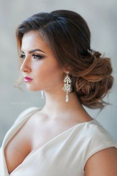 elegant low wedding updo hairstyle