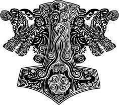 Best Fenrir Tattoo Designs And Ideas Heidnisches Tattoo, Pagan Tattoo, Norse Tattoo, Celtic Tattoos, Tribal Tattoos, Woodcut Tattoo, Viking Art, Viking Symbols, Viking Runes
