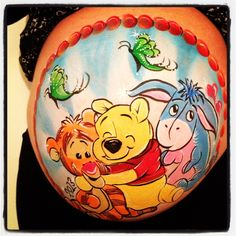 Belly Art Winnie pooh and friends face painting