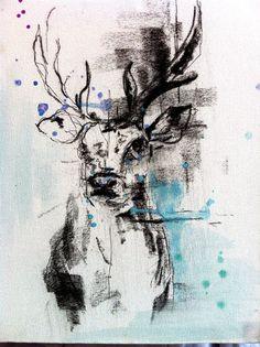 Stag Head Charcoal Watercolours #art #painting KatyJadeDobsonArt ...