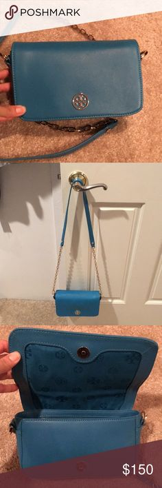 """Tory Burch Robinson Chain Bag Cute robin egg blue crossbody Tory Burch chain bag with magnetic snap flap closure. 7 ¾""""W x 5""""H x 1 ½""""D. In good condition. I don't see any scratches on the bag and inside is almost  perfect. Still has plastic on the inside logo. No trades! Submit your best offer. Tory Burch Bags Crossbody Bags"""