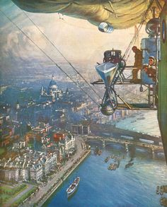 London from Airship by Captain A E Cooper. Airship NS11, July 1919. A week later it crashed.