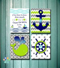 Nautical nursery wall prints, whale crib bedding, green lime-navy-blue-gray baby art,wall decor,whale anchor sailboat quotes, gender neutral