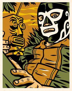 Jorge Alderete - Acapulco Tiki. Es interesante como pone en un contexto determinado a un personaje externo. Tambien rescato las lineas de contorno y los colores que llevan a la cultura azteca