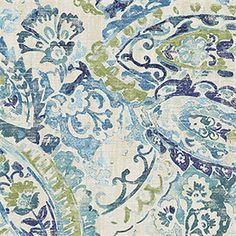 Beautiful green and blue drapery fabric by Belle Maison. This modern drapery fabric is a fun watercolor look paisley fabric perfect for any home decorating project.100,000 Double RubsMinimum 15 yard Purchase.v283PREF