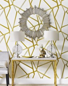 Combine statement wallpaper with bold accessories for an eye-catching space Harlequin Wallpaper, Modern Wallpaper, Home Wallpaper, Graphic Wallpaper, Wallpaper Online, Hallway Decorating, Interior Decorating, Interior Design, Decorating Ideas