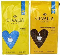 Ummm....just smell that aroma! Gevalia Kaffe ground coffee 2 flavor variety pack: 12 oz Gevalia Vanilla, and 12 oz. Gevalia Chocolate Mocha.