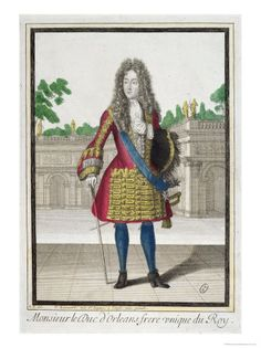 Portrait of Philippe, Duc d'Orleans second son of Louis XIII and brother of Louis XIV by Robert Bonnart Baroque Fashion, Victorian Fashion, 17th Century Fashion, 18th Century, French Royalty, Popular Paintings, Louis Xiv, Oil Painting Reproductions, Costume