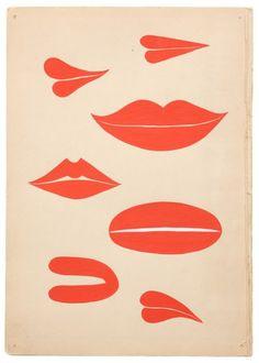 kainlabel: Red lips by Margaret Kilgallen. but w/ eyes My Funny Valentine, Saint Valentine, Valentines, Margaret Kilgallen, Loona Kim Lip, Grafik Design, New Wall, Red Lips, Pink Lips