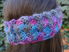 Blue Purple Pink and Gray Headband by ThePurpleTreebySarah on Etsy
