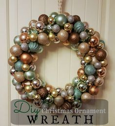 DIY Christmas Ornament Wreath. A Beautiful and simple to make ornament wreath to bring some sparkle to your home decor.