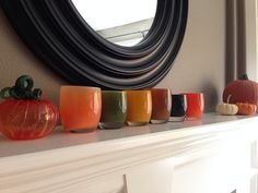 glassybaby | cozy. ripe olive. pumpkin. gingerbread. magic. tangerine.
