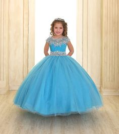 Girls Cap Sleeve Organza Dress with Beaded Neckline-Calla Collection-ABC Fashion Little Girl Pageant Dresses, Pageant Gowns, Dresses Kids Girl, Flower Girl Dresses, Flower Girls, Little Girl Gowns, Gowns For Girls, Kids Dress Patterns, Ball Gown Dresses