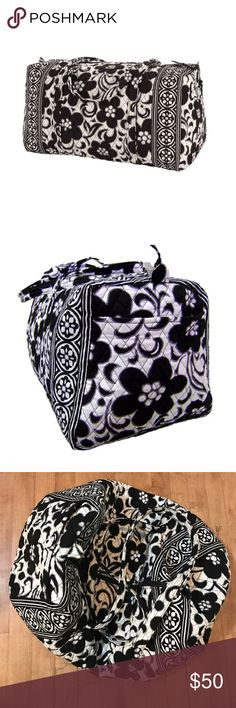 Vera Bradley Large Duffel Bag Gently used - large duffle travel bag - black white print - measures 16 x 11 x 3 inches  vera bradley Bags Travel Bags