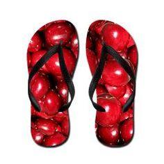 Huge Red Cherries Flip Flops via Floral Dreams, Cute or Crazy?
