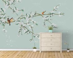 Chinoiserie Wallpaper Flowering Branch Exotic Birds Wall Mural, Vintage Fine Brushwork Magnolia Flowers and Birds Wall Mural Wall Decor Chinoiserie Wallpaper, Bird Wallpaper, White Wallpaper, Kawaii Wallpaper, Screen Wallpaper, Mural Art, Wall Murals, Diy Wall Painting, Open Wall