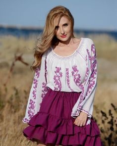IE TRADITIONALA ROMANEASCA - Motivul Trandafirul Mov Folk Embroidery, Traditional Fashion, Bell Sleeve Top, Costume, Street Style, Blouse, Lace, Pants, Handmade