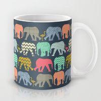 Mug featuring baby elephants and flamingos by Sharon Turner