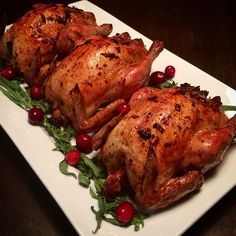 Roasted Cornish hens with a tarragon, lemon, long and wild rice stuffing. Enjoyed with a golden beet, grape tomato, walnut and goat cheese salad.@zimmysnook