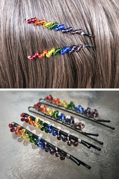 These elegant beaded twist rainbow hair pins are perfect for anyone who is celebrating LGBT pride month, or anyone who just loves rainbows! Pearl Jewelry, Wire Jewelry, Beaded Jewelry, Handmade Jewelry, Ear Crawler Earrings, High Fashion Makeup, Chakra Jewelry, Hair Beads, Diy Hair Accessories