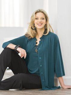 Ulla Popken Plus Size Matte Jersey Swing Jacket