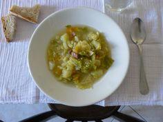 Zuppa di patate, cavolo verza e pancetta    Potato, cabbage and bacon soup    From Zuppe by Mona Talbott