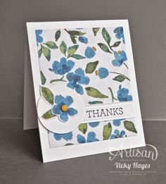 Stampin' Up ideas and supplies from Vicky at Crafting Clare's Paper Moments: Ways to use designer paper - Painted Blooms by Stampin' Up