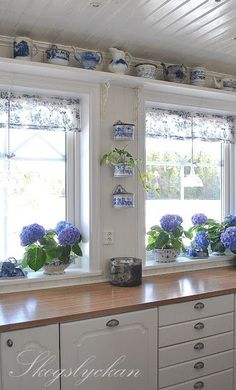 Blue and white kitchen at cottage.