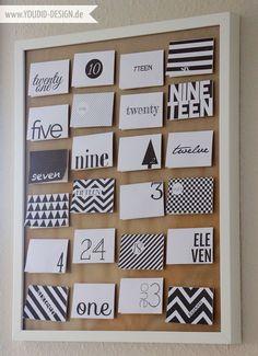 Adventskalender Freebie - Black and White - DIY