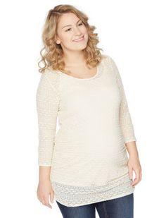 Motherhood Maternity Plus Size 3/4 Sleeve Scoop Neck Maternity Top