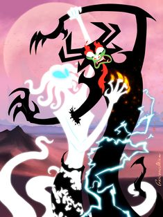 """grievousalien: """" Happy Valentine's Day! Aku vs an ancient spirit (appears in ep XII) """" Ashi Samurai Jack, Samurai Jack Aku, Samurai Warrior, Satanic Art, Cartoon Crossovers, Old Cartoons, Art Challenge, Character Art, Fantasy Art"""