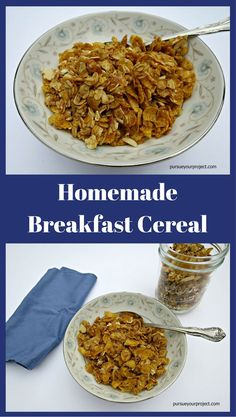 Recipe to make your own homemade cereal. It has almonds and oats in it, and can be modified to your taste. Also can be an ice cream topper! via @pursueproject