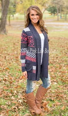 USE DISC. CODE: REPAMIE10 TO SAVE!!! Days Like This Aztec Navy Cardigan - The Pink Lily Boutique