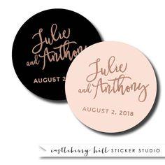 Copper And Black Wedding Sticker Favor Rose Gold Label Bridal Shower Stickers