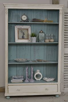 #letstrove This rustic Dutch bookcase will add plenty of character to any room! We've painted in Valspar Blanc de Blancs with Farrow & Ball Dix Blue over grey and lightly distressed and aged with dark wax. https://www.thetreasuretrove.co.uk/cabinets-and-storage/rustic-shabby-chic-dutch-bookcase #farrowandballdixblue #shabbychic #darkshabbychicfurniture #shabbychicdressersgrey