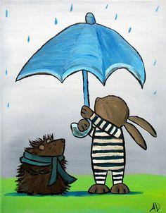 Kids Wall Art Hedgehog and Bunny Friends Original by andralynn, $60.00