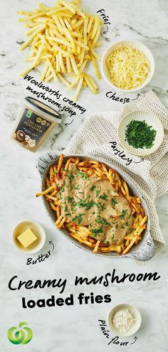 How to make Creamy Mushroom Loaded Fries Vegetarian Recipes, Cooking Recipes, Healthy Recipes, Pasta Recipes, Delicious Recipes, Good Food, Yummy Food, Food Hacks, Food Inspiration