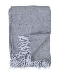 Del Mex Solid Color Deluxe Mexican Blanket (Light Gray)