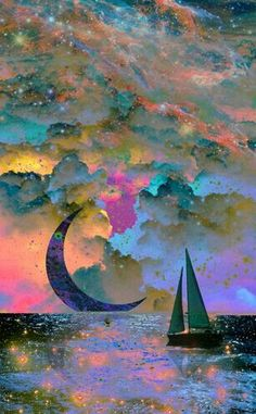 Moonset -- is this really a quilt or is it an illustration. Art And Illustration, Art Amour, Wow Art, Pics Art, Painting Inspiration, Fantasy Inspiration, Painting & Drawing, Moon Painting, Amazing Art