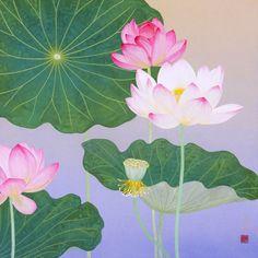 夏花  2012年-52-野地美樹子 Water Lilies Painting, Lotus Painting, Asian Flowers, Oriental Flowers, Watercolor Cards, Watercolor Flowers, Chinese Background, Lotus Plant, Flower Collage