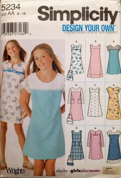 Simplicity 5234 UNCUT Girls Design Your Own Jumper or Dress in two lengths by Lonestarblondie on Etsy