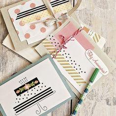 As fitas também rendem cartões de aniversário. Cartões Liana Uehara para A. Craft
