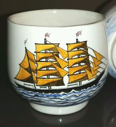 Sake Tea Cups Set 4 Japanese Nanban Portuguese Trade Sail Ships Signed Artist   eBay