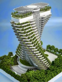 How about this idea.Skyhigh Food Farms For Future Cities Are Ready To Rise.  I think it would work the best with electric cars so you don't have to soak food for ours off burnt fuel residue.