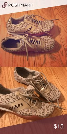 Tan and gold Guess sneaks Guess sneakers, tan and gold size 6 with some signs of wear.  - Reasonable offers will be considered! Guess Shoes Athletic Shoes