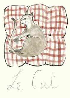 """Le Cat"" Kathrina Salam Bangalore, India  #cat #catart #cats #art #illustration #drawing #sleeping"