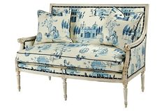 Oakridge 56″ Settee, Ivory/Cobalt Alsace - From the Home Decor Discovery Community at www.DecoandBloom.com