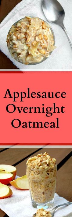 Guest post from The Oatmeal Artist: Applesauce overnight oatmeal, a cheap breakfast recipe. Breakfast On The Go, How To Make Breakfast, Breakfast Dishes, Breakfast Recipes, Breakfast Ideas, Oats Recipes, Baby Food Recipes, Cooking Recipes, Applesauce Recipes